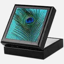Metallic Aqua Peacock Keepsake Box