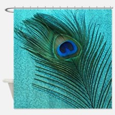 Metallic Aqua Peacock Shower Curtain