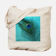 Metallic Aqua Peacock Tote Bag