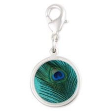 Metallic Aqua Peacock Charms