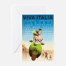 Viva Italia, Travel, Italy,Vintage Poster Greeting