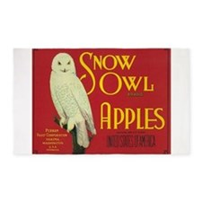 Snow Owl, Apples, Vintage Poster 3'x5' Area Rug