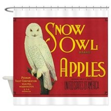 Snow Owl, Apples, Vintage Poster Shower Curtain