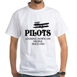 Funny pilot Mens White T-shirts
