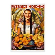 Mexico,Travel, Fruit, Vintage Poster 5'x7'Area Rug