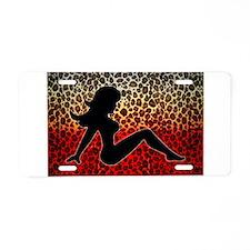 Red Leopard Trucker Girl Aluminum License Plate