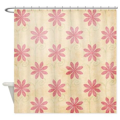 Retro Pink Flowers Shower Curtain