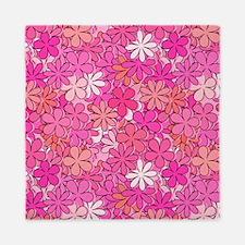 Groovy Pink Flowers Queen Duvet