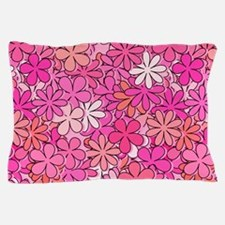 Groovy Pink Flowers Pillow Case