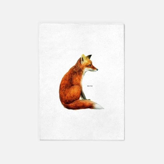 Red Fox Animal 5'x7'Area Rug