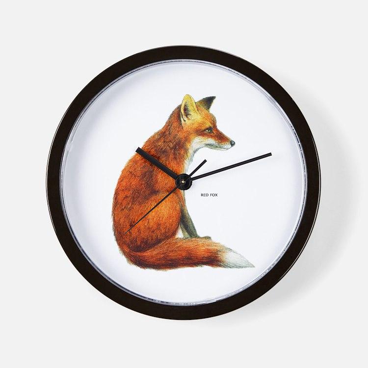 Red Fox Animal Wall Clock