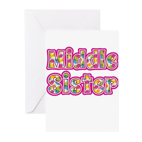 Middle Sister Pink Greeting Cards (Pk of 20)