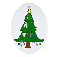Fencer's Christmas Tree Oval Ornament