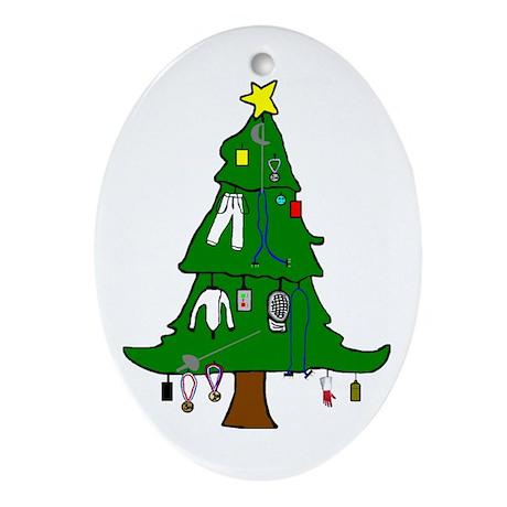 Fencer's Christmas Tree Oval Ornament