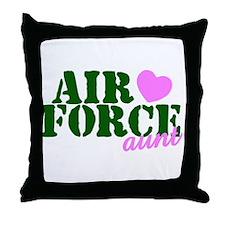 AF Aunt Green Pink Heart Throw Pillow