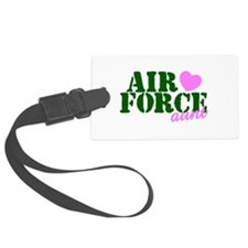 AF Aunt Green Pink Heart Luggage Tag