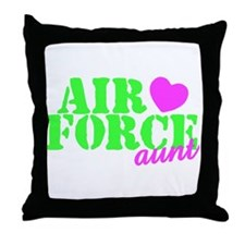 AF Aunt Lime Green Pink Heart Throw Pillow
