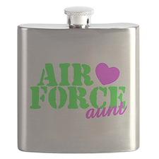 AF Aunt Lime Green Pink Heart Flask
