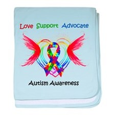 Autism Ribbon with Wings baby blanket