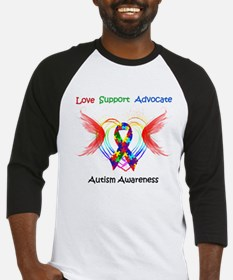 Autism Ribbon with Wings Baseball Jersey