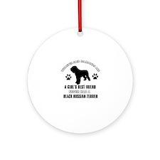 Black Russian Terrier Mommy designs Ornament (Roun