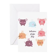 When Pigs Fly Greeting Cards (Pk of 20)