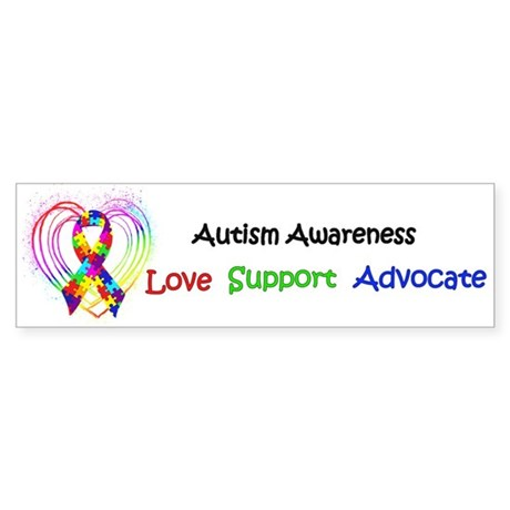 Autism Ribbon on Heart Sticker (Bumper)