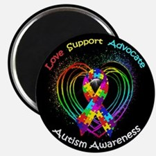 "Autism Ribbon on Heart 2.25"" Magnet (100 pack)"