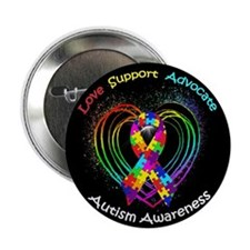 """Autism Ribbon on Heart 2.25"""" Button (100 pack)"""