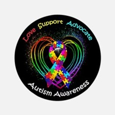 "Autism Ribbon on Heart 3.5"" Button"