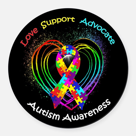 Autism Ribbon on Heart Round Car Magnet