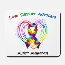 Autism Ribbon on Heart Mousepad