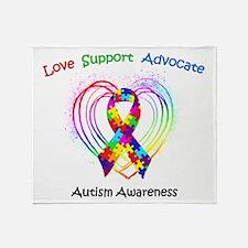 Autism Ribbon on Heart Throw Blanket