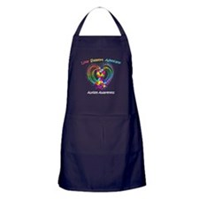 Autism Ribbon on Heart Apron (dark)
