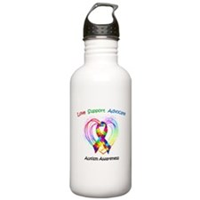 Autism Ribbon on Heart Water Bottle