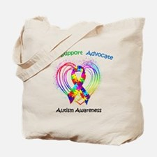 Autism Ribbon on Heart Tote Bag