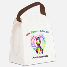 Autism Ribbon on Heart Canvas Lunch Bag