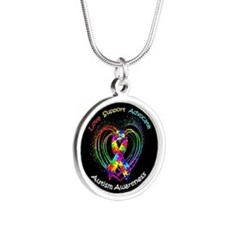Autism Ribbon on Heart Silver Round Necklace
