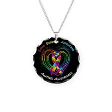 Autism Ribbon on Heart Necklace