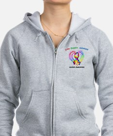 Autism Ribbon on Heart Zip Hoodie