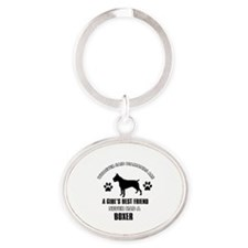 Boxer Mommy designs Oval Keychain