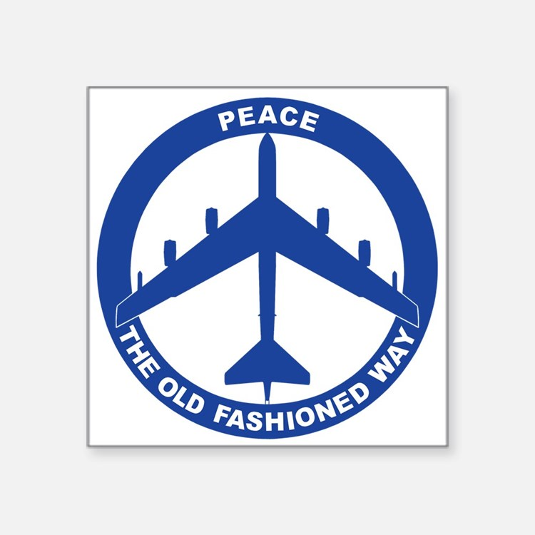 "B-52G Peace Sign Square Sticker 3"" x 3"""