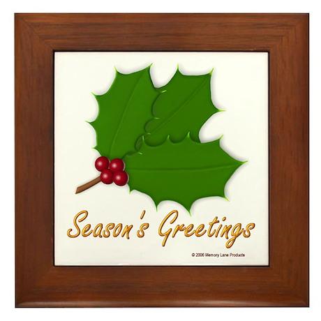 Season's Greetings Holly Framed Tile