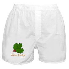 Season's Greetings Holly Boxer Shorts