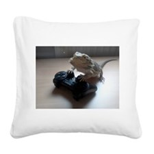 Gaming Bearded Dragon Square Canvas Pillow