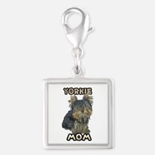 Yorkshire Terrier Mom Silver Square Charm