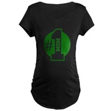 Number 1 Mom (Green) Maternity T-Shirt