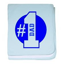 Number 1 Dad (Blue) baby blanket
