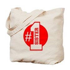 Number 1 Sister (Red) Tote Bag