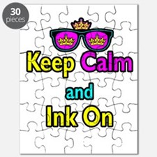 Crown Sunglasses Keep Calm And Ink On Puzzle